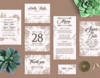 Free Minimalist Peonies Wedding Templates Package in PS
