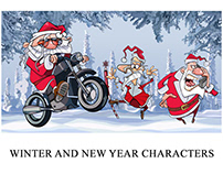 A variety of Santa Clauses and New Year characters