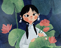 The girl with pink lotus