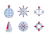 Yacht sailing club. Icon set.