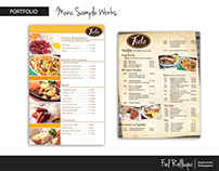 Menu Sample Works