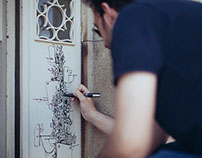 Drawing in a door