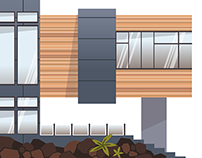 Architecture in vector: modern and eco houses