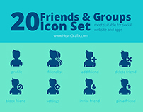 20 Friends & Groups Social Icon Set