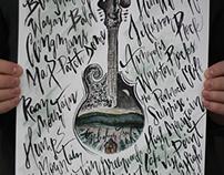 Appalachian Trail Calligraphy Mandolin Illustration