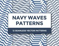 Navy Waves pattern set