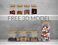 Sweets in jars - free 3d model