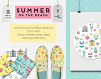 """""""SUMMER ON THE BEACH"""" SET OF GRAPHIC ELEMENTS"""