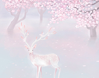 Sakura and Deer