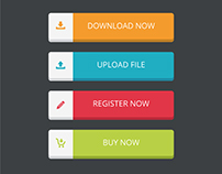 Flat Vector Buttons Set Free Download
