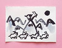 Goats Miniature Painting
