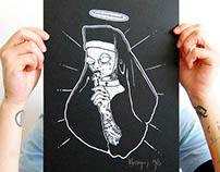 serigraphie affiche et tee shirt nonne tatouée
