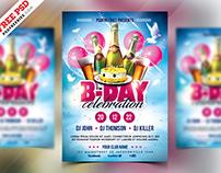 Birthday Party Celebration Flyer Design PSD