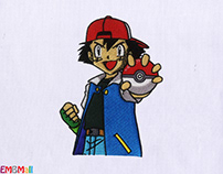 POKEMON TRAINER ASH EMBROIDERY DESIGN