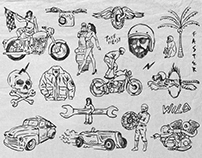 Vintage Racing Illustrations