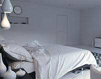 Bedroom b/w minimalism