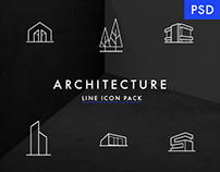 Minimal Architecture Line Icon Pack - FREE PSD