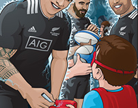 All Blacks 7's with the fans