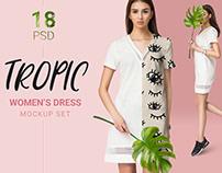 Female dress mockup set + free demo apparel mockup