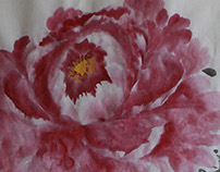 Chinese Brush Painting- Peony, Rice Paper