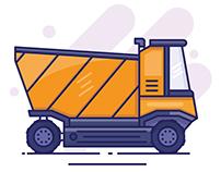 Dump Truck Line Art Illustration