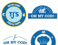 TJ's Fish & Chips Shop Logo Concepts