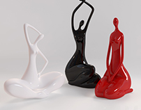 3D Model. Statuettes of ladies.