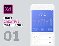 #1 Daily Creative Challenge | Finance App Design