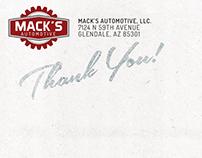 Mack's Automotive | Postcard Design
