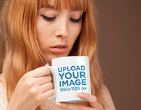 Coffee Mug Mockup Featuring a Cute Girl with Strawberry