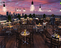 Rooftop Layout Lounge 3D Rendering Evening View