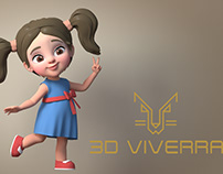 Cartoon girl model and rig