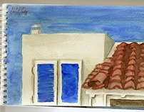 College Coursework: Watercolors in Greece