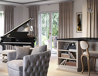 Living room in a London house, 3d rendering