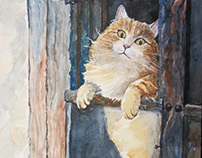 Ginger cat in the window, watercolor
