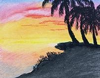 Oil pastel beach sunset