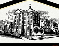 Trinity Street Whisky Label Illustrated by Steven Noble