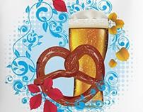 Cartoon Pretzel with Beer