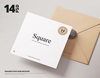 Square Postcard & Envelope Mockup