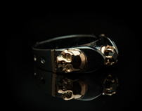 "Nigrum adamas ""A"" - gothic skull gold/silver ring"