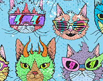 Wiggly Kitty Cat Art Social Media Banner