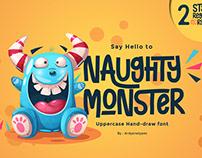 Free Naughty Monster Handmade Font
