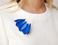 Blue and Black Brooch