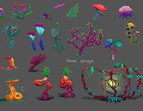 Some planetoid flora props concepts