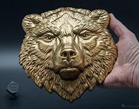 Bear face relief