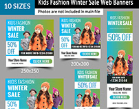 Kids Fashion Winter Sales Banners
