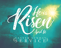 He Is Risen Easter Sunday Flyer Print Template