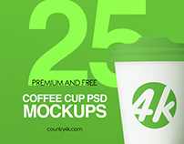 25 Premium and Free Coffee Cup PSD MockUps
