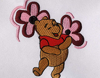 CHIRPY AND SMILING WINNIE THE POOH EMBROIDERY DESIGN