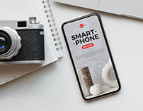 Free Camera With Smart Phone Mockup PSD
